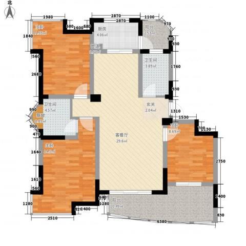 银河湾3室1厅2卫1厨90.35㎡户型图