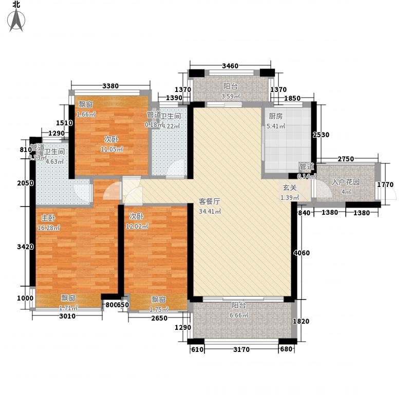 保利林语13.00㎡4栋标准层C户型3室2厅2卫1厨