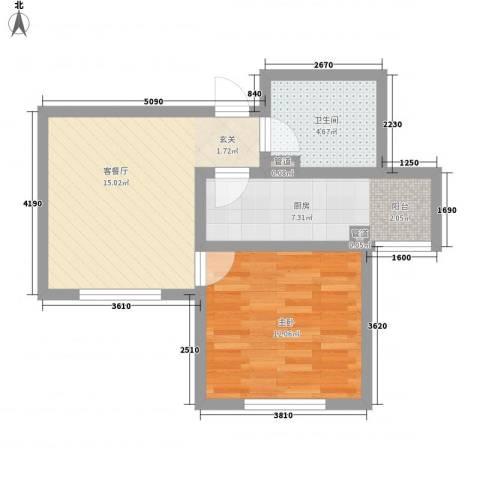 红荔花园1室1厅1卫1厨58.00㎡户型图