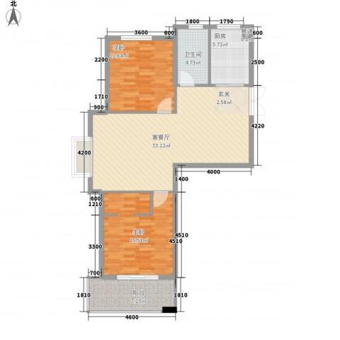 北城春色2室1厅1卫1厨110.00㎡户型图