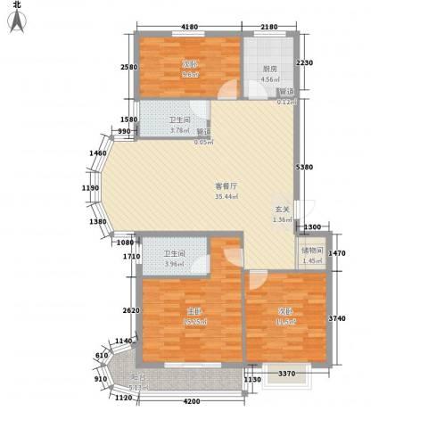 国际丽都城3室1厅2卫1厨128.00㎡户型图