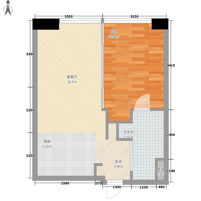 星光域65.80㎡3号楼C户型1室2厅1卫1厨