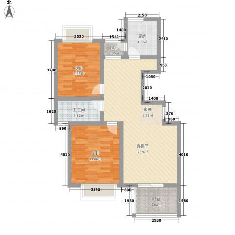 东方假日城2室1厅1卫1厨90.00㎡户型图