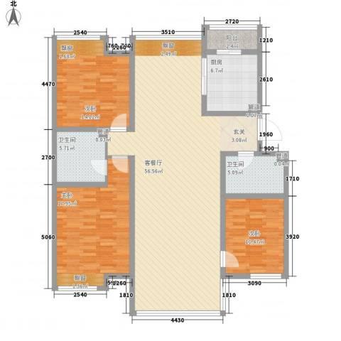 亿利傲东国际3室1厅2卫1厨168.00㎡户型图