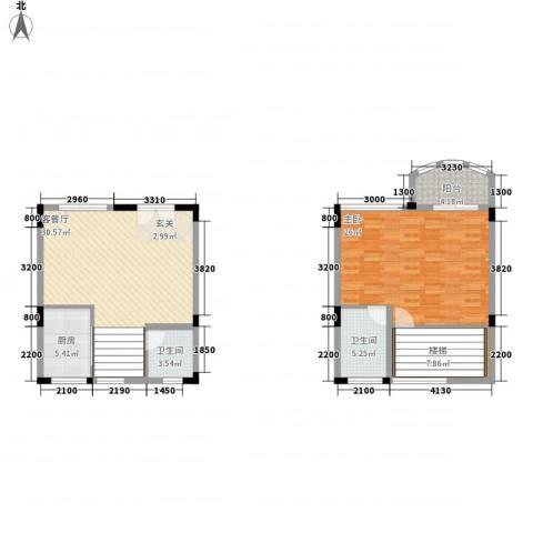 顺德碧桂园蓝天花语1室1厅2卫1厨92.81㎡户型图