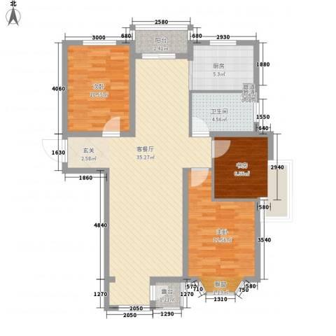 金杯住宅3室1厅1卫1厨115.00㎡户型图