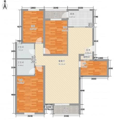星河城四期4室1厅2卫1厨156.00㎡户型图