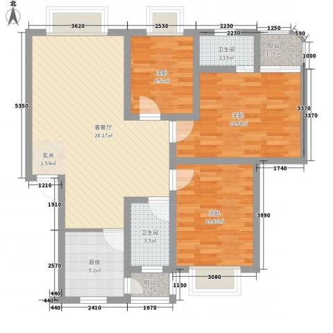 秀丽景苑3室1厅2卫1厨70.04㎡户型图