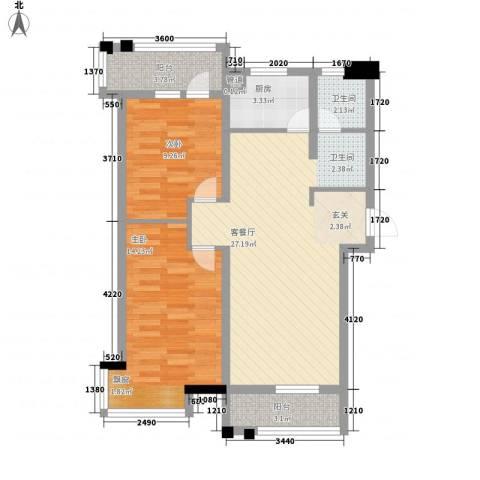 金地华府二期2室1厅1卫1厨92.00㎡户型图