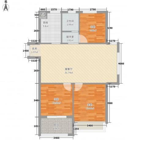 金色华府3室1厅1卫1厨111.00㎡户型图