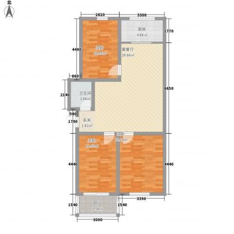 良东花园3室1厅1卫1厨109.00㎡户型图