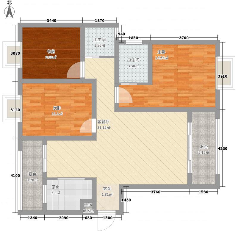 广泽・水映城124.10㎡C2户型3室2厅2卫1厨