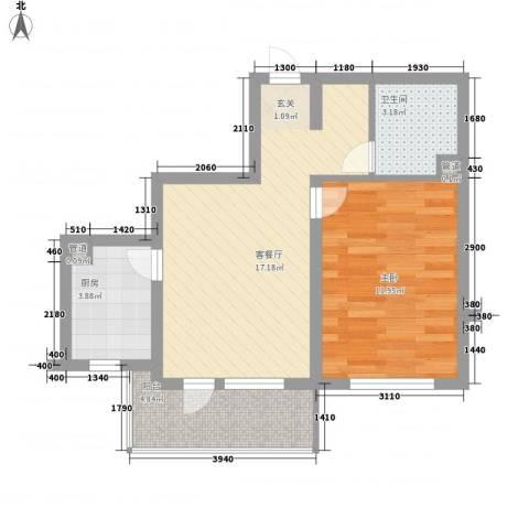 金地华府二期1室1厅1卫1厨60.00㎡户型图