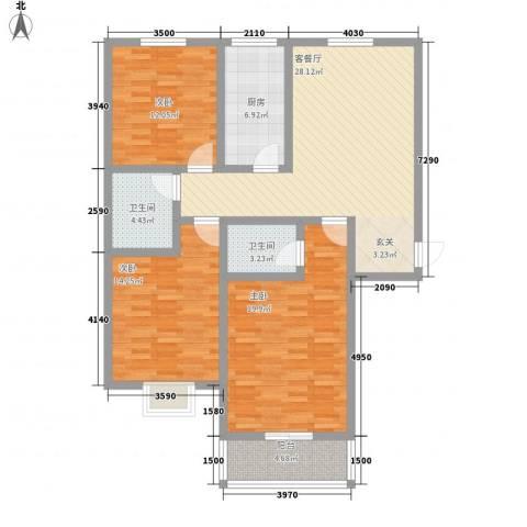 富通・香树湾3室1厅2卫1厨135.00㎡户型图