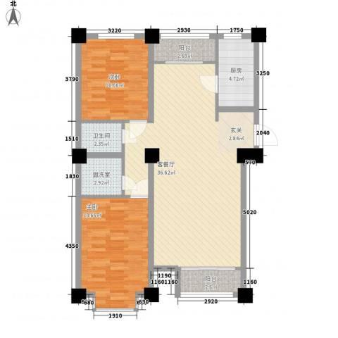 万豪名园2室1厅1卫1厨108.00㎡户型图