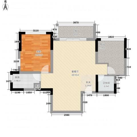 万科金域华庭1室1厅1卫1厨82.00㎡户型图