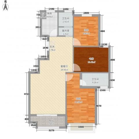 金色华府3室1厅2卫1厨114.00㎡户型图
