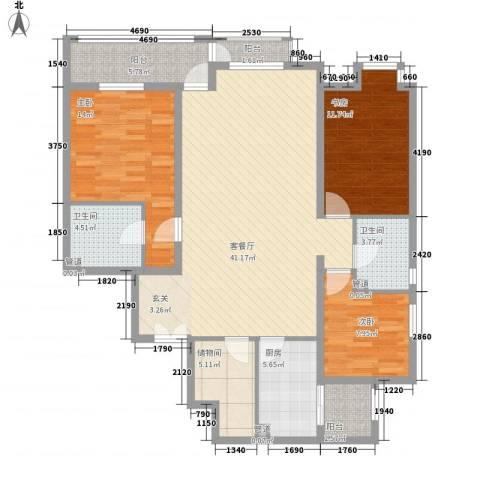 星河城四期3室1厅2卫1厨148.00㎡户型图