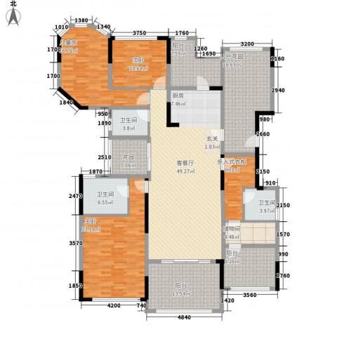 万科金域华庭3室1厅3卫0厨199.00㎡户型图