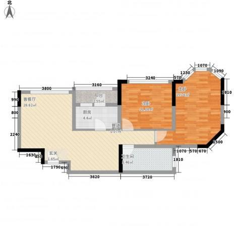 万科金域华庭2室1厅1卫1厨87.00㎡户型图