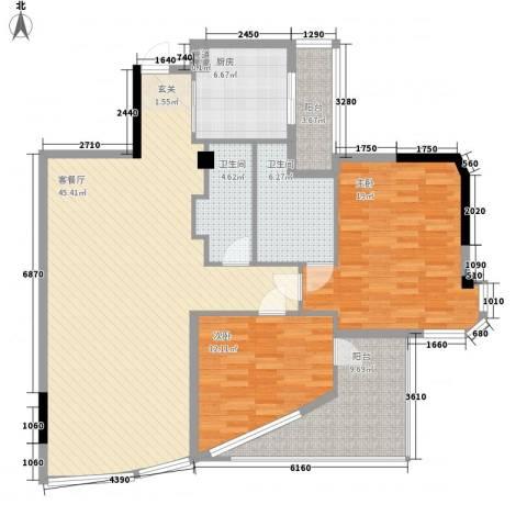 世纪银座2室1厅2卫1厨150.00㎡户型图