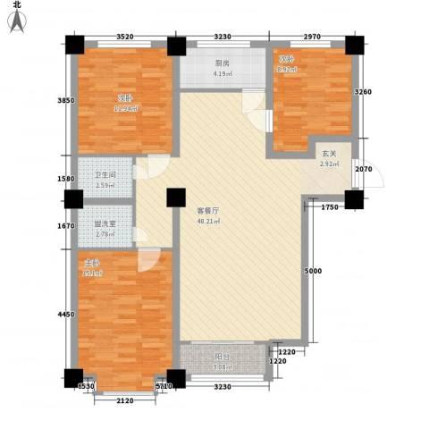 万豪名园3室1厅1卫1厨126.00㎡户型图