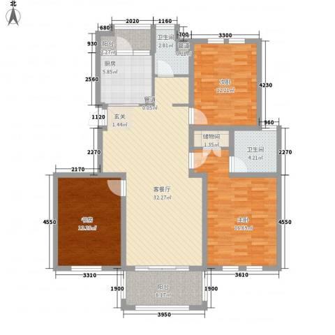 中心市场3室1厅2卫1厨140.00㎡户型图