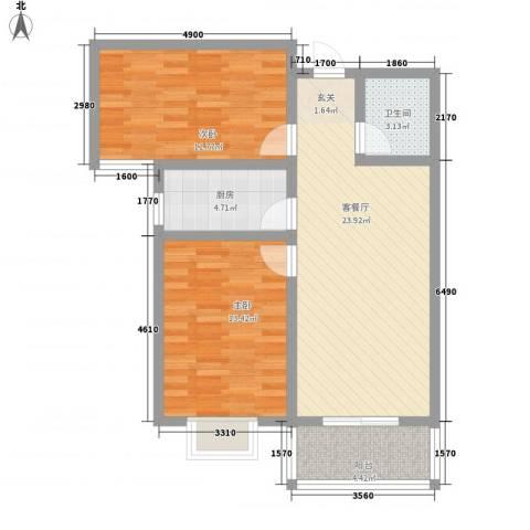 东龙府邸2室1厅1卫1厨90.00㎡户型图