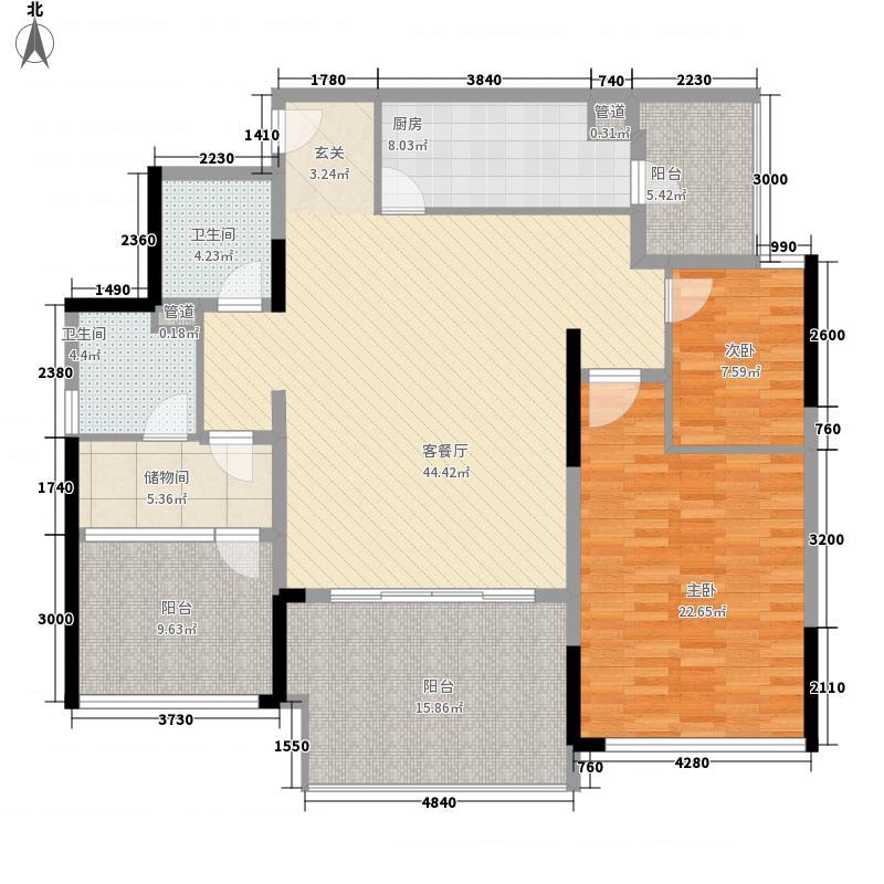 万科金域华庭130.00㎡万科金域华庭户型图榆景阁C03单位2室2厅2卫1厨户型2室2厅2卫1厨