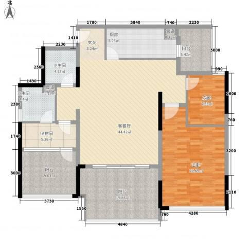 万科金域华庭2室1厅2卫1厨130.00㎡户型图