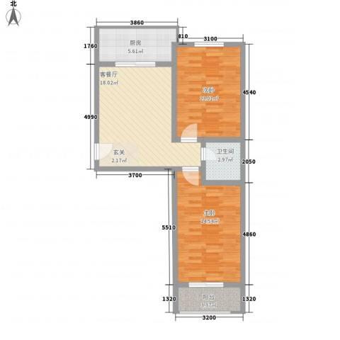 良东花园2室1厅1卫1厨83.00㎡户型图