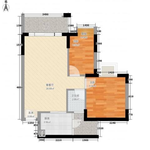 中心市场2室1厅1卫1厨70.00㎡户型图