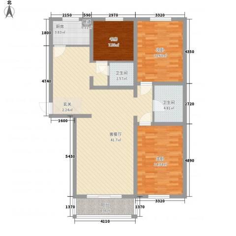万豪名园3室1厅2卫1厨132.00㎡户型图