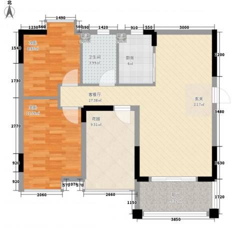 宝安椰林湾2室1厅1卫1厨89.00㎡户型图