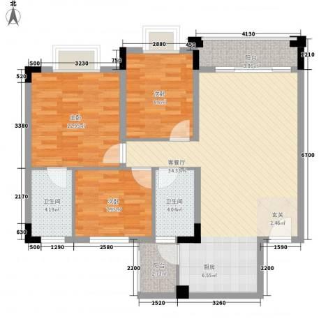 名尚轩3室1厅2卫0厨86.00㎡户型图