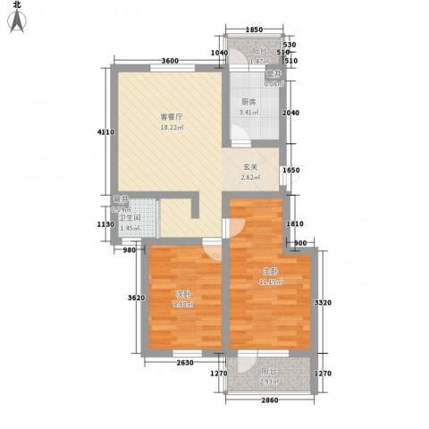 瘦西湖新苑2室1厅1卫1厨70.00㎡户型图