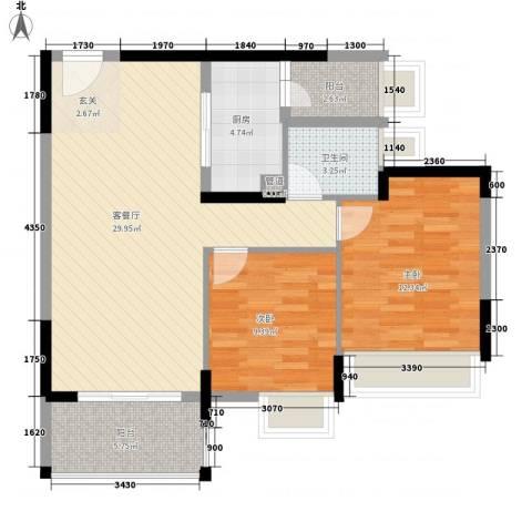 创富时代名苑2室1厅1卫1厨76.00㎡户型图