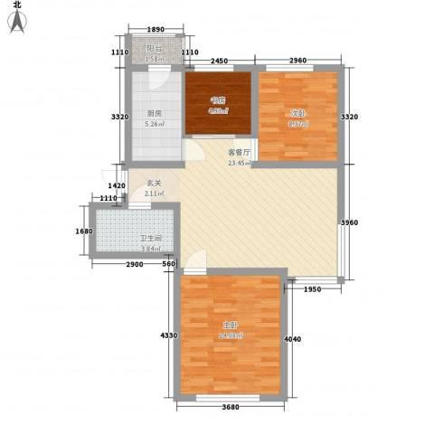 境界梅江观秀3室1厅1卫1厨95.00㎡户型图