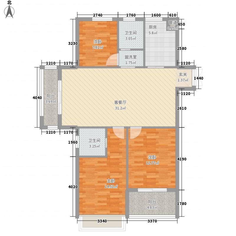 金色华府126.80㎡一期11、12号楼标准层D户型3室2厅2卫1厨