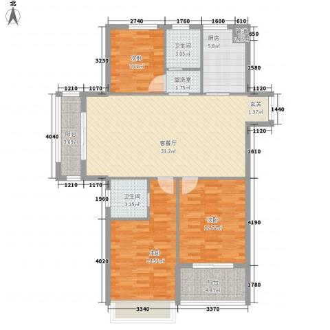 金色华府3室1厅2卫1厨127.00㎡户型图