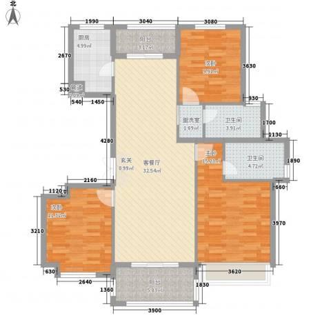 金色华府3室1厅2卫1厨134.00㎡户型图