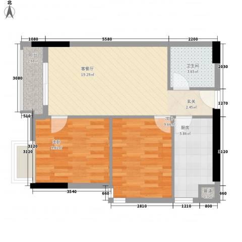麓湖盛景2室1厅1卫1厨73.00㎡户型图