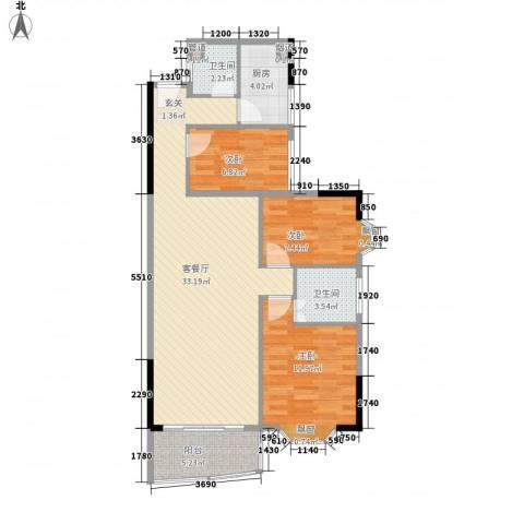金雅苑三期3室1厅2卫1厨83.20㎡户型图