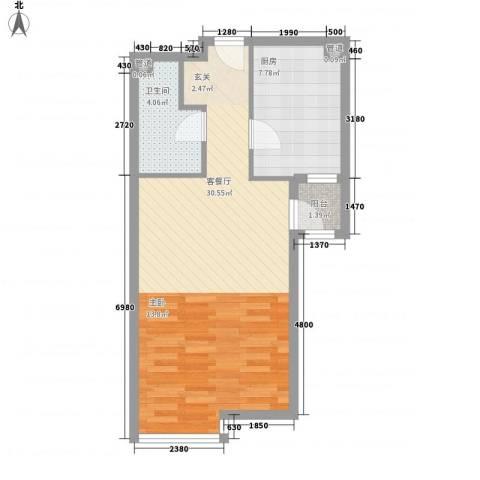 星河城四期1厅1卫1厨62.00㎡户型图