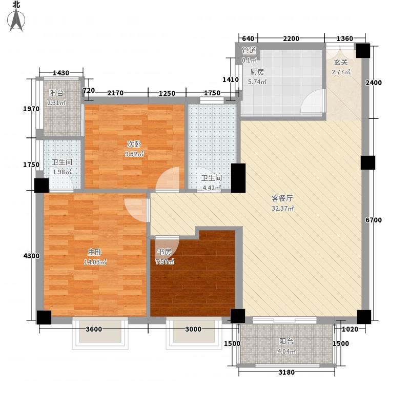水岸车影112.83㎡B户型3室2厅2卫1厨