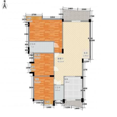 顺宝花园3室1厅2卫1厨121.23㎡户型图
