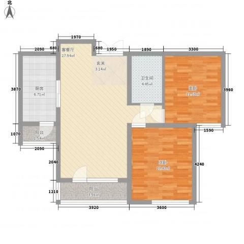 境界梅江观秀2室1厅1卫1厨100.00㎡户型图