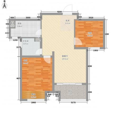 佳茂缘商务广场2室1厅1卫1厨100.00㎡户型图