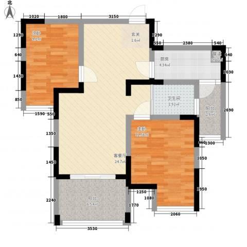 古楼广场2室1厅1卫1厨81.00㎡户型图