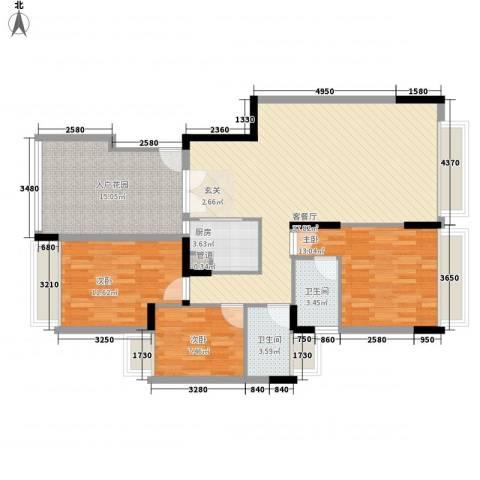 金碧世家3室1厅2卫1厨95.99㎡户型图